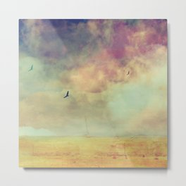Flying Birds in Cotton Candy Desert Landscape  Metal Print