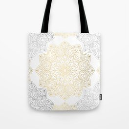 Gold Silver Mandala Pattern Illustration Tote Bag