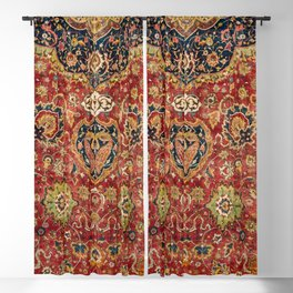 Indian Boho II // 16th Century Distressed Red Green Blue Flowery Colorful Ornate Rug Pattern Blackout Curtain