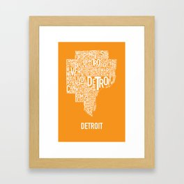 Detroit typography map poster - Orange Framed Art Print