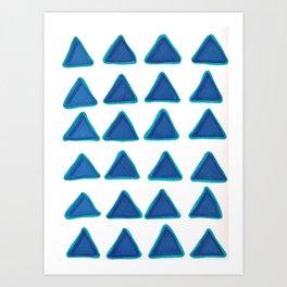 Blue Triangles Art Print