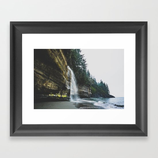 Waterfall into the Ocean Framed Art Print