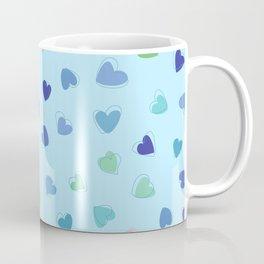 Love, Romance, Hearts - Blue Green Pink Coffee Mug