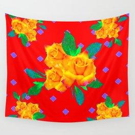 Red & Violet Gold Roses Violet Pattern Wall Tapestry