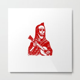 Grim Reaper With Guitar Metal Print