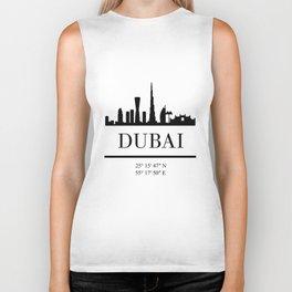 DUBAI UAE BLACK SILHOUETTE SKYLINE ART Biker Tank