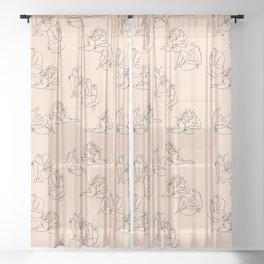 Summer Lines pattern Sheer Curtain