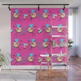 80s Flamingos Wall Mural