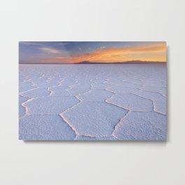 II - Salt flat Salar de Uyuni in Bolivia at sunrise Metal Print