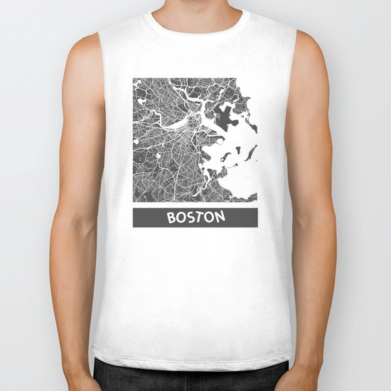 Boston map Biker Tank