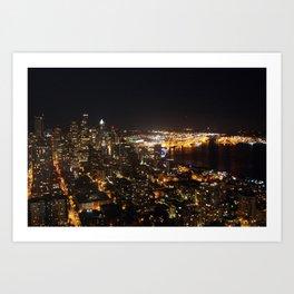 Seattle Night Lights - Great Wheel Art Print