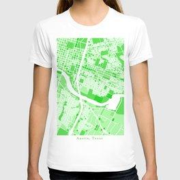 Austin City Map Green T-shirt