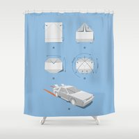 delorean Shower Curtains featuring Origami DeLorean by 6amcrisis