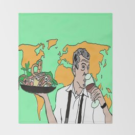 The colorful life of Anthony Bourdain Throw Blanket