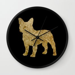 Golden Frenchie on black Wall Clock
