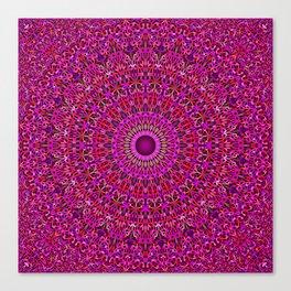 Deep Pink Garden Mandala Canvas Print