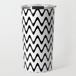 ZigZag Horizontal Black and White Stripes Travel Mug