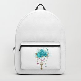 Turquoise Roses with Keys Backpack