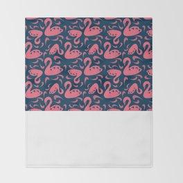 Cygne (Block cut swans) Throw Blanket