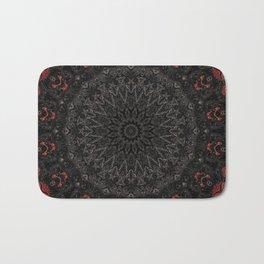 Red and Black Bohemian Mandala Design Badematte