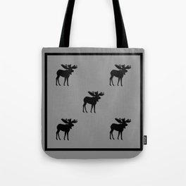 Bull Moose Silhouette - Black on Gray Tote Bag