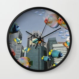 Singapur Skyline - tropical fishes - futuristic Collage Wall Clock