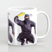 bathroom Mugs featuring Bathroom Ninja by Del Gaizo