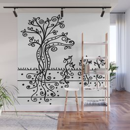 Strong Roots - Black and White Wall Mural