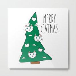 Merry Catmas Cat Christmas Tree Metal Print