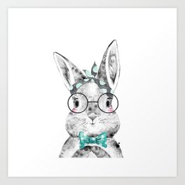 Bunny with Scarf and Bowtie Art Print
