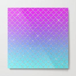 Gradient Mermaid Scales Metal Print