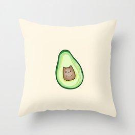 AvoCATo Avocado Cat Kawaii Cute Print Throw Pillow