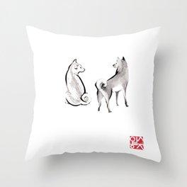 Two Shiba Inu Couple Throw Pillow