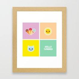 Hello Summer bright tropical card design, ice cream, sun, cat. Kawaii cute face. Framed Art Print