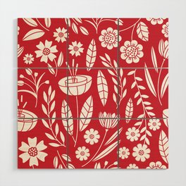 Blooming field - red Wood Wall Art