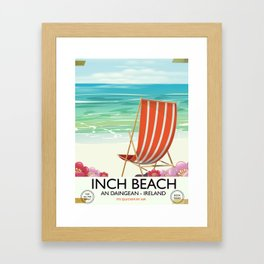Inch Beach  An Daingean - ireland vintage travel poster Framed Art Print
