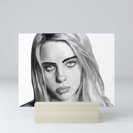 Billie Eilish Artwork Black and White Mini Art Print