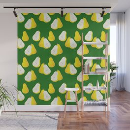Watercolor Pear Pattern ~ Green Wall Mural