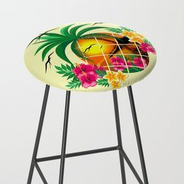 Pineapple Tropical Sunset, Palm Tree and Flowers Bar Stool