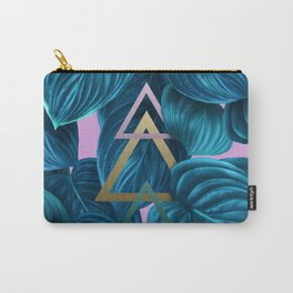 tropical turquoise leaves pattern Carry-All Pouch