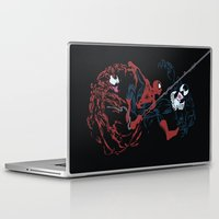 carnage Laptop & iPad Skins featuring Spider-man - Carnage VS Spidey VS Venom by TracingHorses