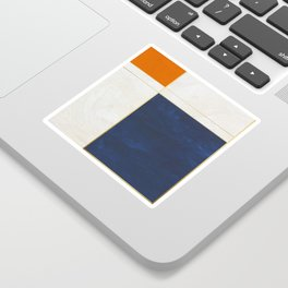 Orange, Blue And White With Golden Lines Abstract Painting Sticker