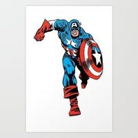 avenger Art Prints featuring Avenger: Cap' by Popp Art
