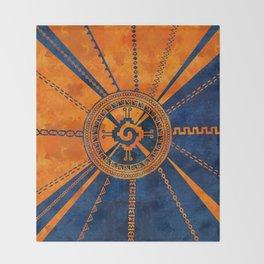 Hunab Ku Mayan symbol Orange and Blue Throw Blanket