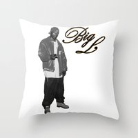 2pac Throw Pillows featuring Big L //Black&White by Gold Blood