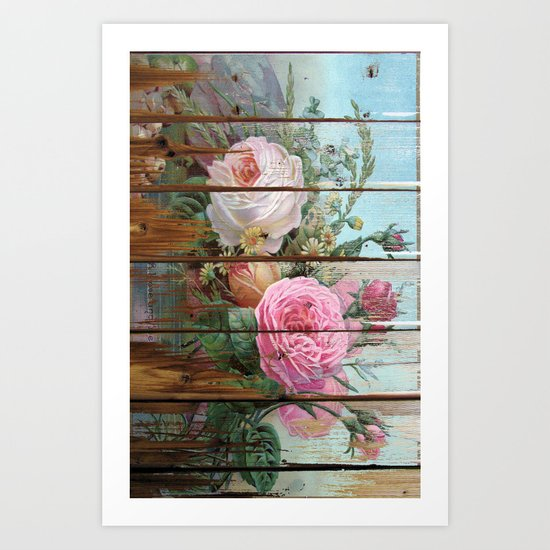 recycled art- rose wood Art Print