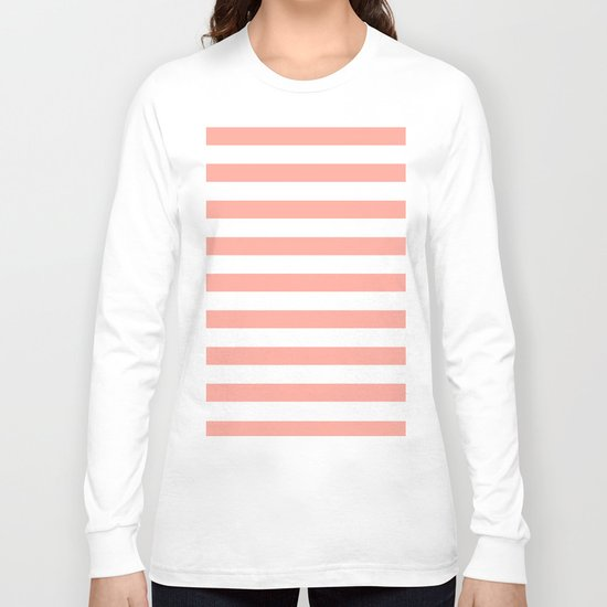Simply Striped in Salmon Pink and White Long Sleeve T-shirt