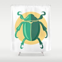 beetle Shower Curtains featuring beetle by Cardinal Design