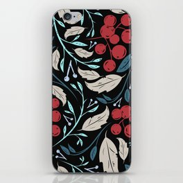 Holiday Holly and Mistletoe Pattern iPhone Skin
