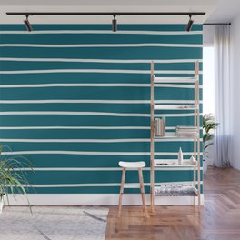 Off White Simple Minimal Hand Drawn Horizontal Line Pattern on Tropical Dark Teal Inspired by Sherwin Williams 2020 Trending Color Oceanside SW6496 Wall Mural